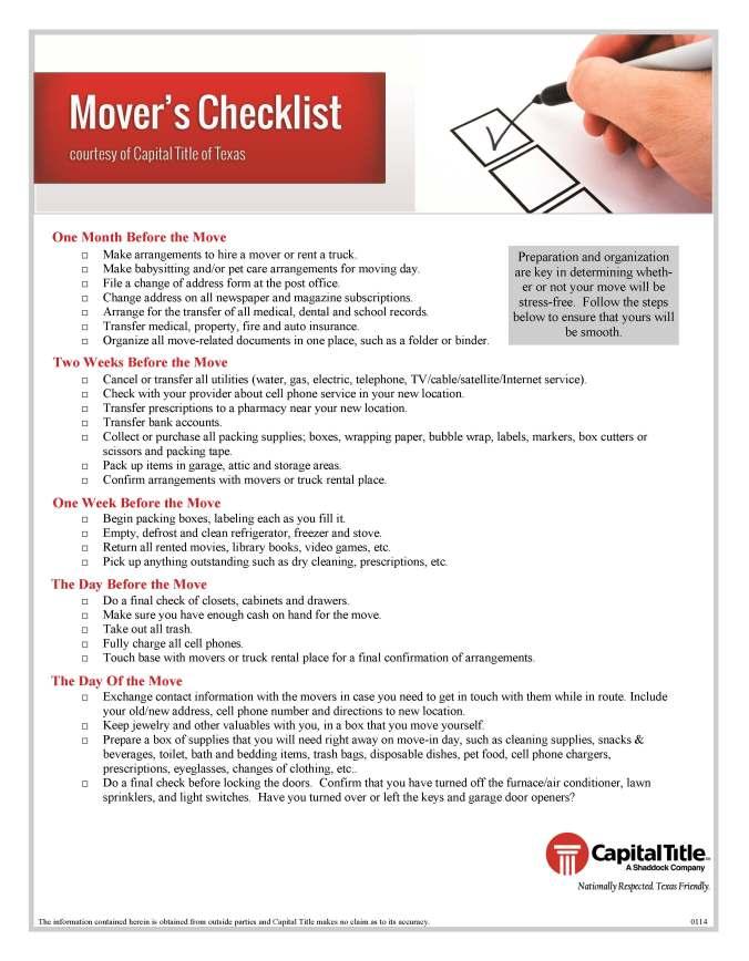 Mover's Checklist